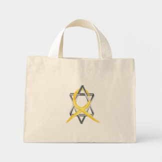 "Gold ""Painted"" Childhood Cancer Ribbon Mini Tote Bag"