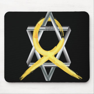 """Gold """"Painted"""" Childhood Cancer Ribbon Mouse Pad"""