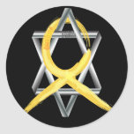 """Gold """"Painted"""" Childhood Cancer Ribbon Round Sticker"""
