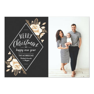 Gold Painted Flowers Christmas Holiday Photo Card