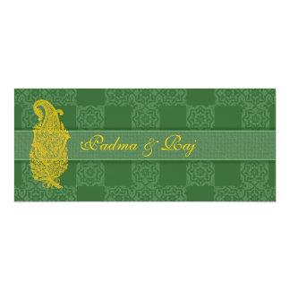 Gold Paisley and Green Wedding Invitations