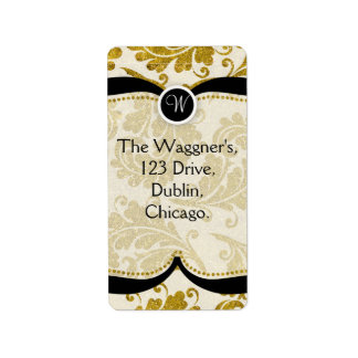 Gold Paisley Damask Postage Address Labels