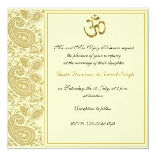 Paisley Indian Wedding Invitations Zazzle
