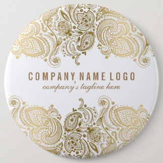 Gold Paisley Lace Custom White Background Button