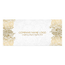 Gold Paisley Lace On White Rack Card