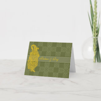 Gold Paisley & Olive Personalized Note Card