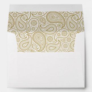 Gold Paisley on White Envelope