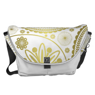 Gold paisley pattern courier bag