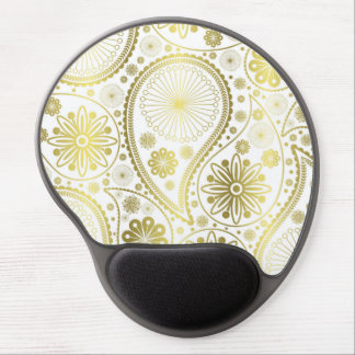 Gold paisley pattern gel mouse pad