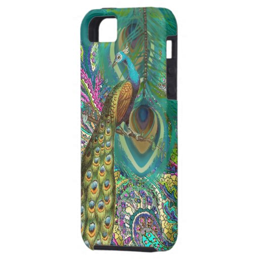 Gold Paisley Peacock & Feather You Choose Color iPhone 5 Cases
