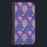 "Gold Paisley Samsung S4 Wallet Case<br><div class=""desc"">Pretty Samsung Galaxy S4 wallet style case done in an elegant gold,  purple,  lavender,  and pink paisley pattern.  Lovely gift idea for her,  customize to add any text you want.</div>"