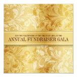 "Gold Paisley Swirl Event 5.25"" Square Invitation Card"