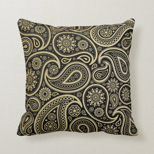 Gold Paisley with Black Background #1 Throw Pillow