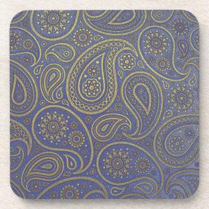 Gold paisleys on vintage royal blue worn fabric coaster