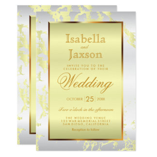 Gold, Pale Yellow Marble & White Satin Invitation
