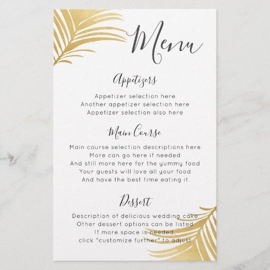 Gold Palm Beach Destination Wedding Reception Menu Zazzle