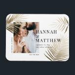 """Gold palm leaf save the date photo wedding magnet<br><div class=""""desc"""">Modern classy gold effect palm leaf photo wedding save the date card. With modern,  elegant backer design.</div>"""