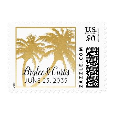 Beach Themed Gold Palm Tree Beach Wedding Name Stamp