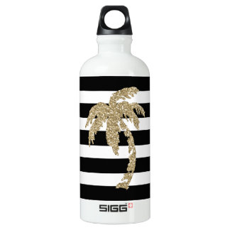 Gold Palm Tree, Black/White Sigg Water Bottle