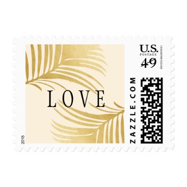 Gold Palm Tree Branch Destination LOVE Stamp
