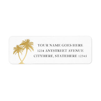 Gold Palm Tree for Beach Destination Wedding Label