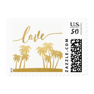 Gold Palm Tree Island Love Destination Wedding Postage