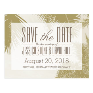 Gold Palm Tree Tropical Wedding Save the Date Postcard
