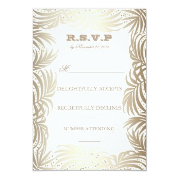 Beach Themed Gold Palms Leaves and Navy Back Beach RSVP Card