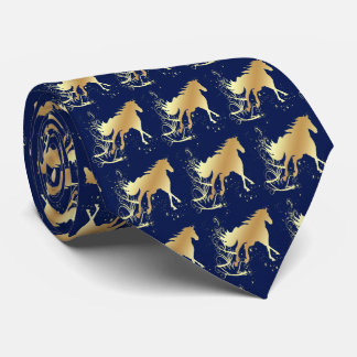 Gold Palomino Horse on Blue Western Necktie