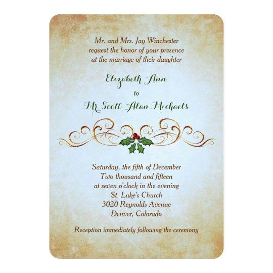 Gold Paper Holiday Theme Formal Wedding Invitation Zazzle Com