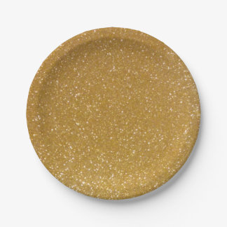 Gold paper plates | faux sparkly and glitter print