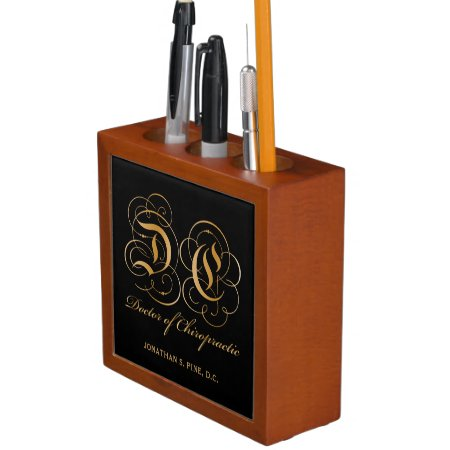 Gold Parchment Letters Doctor of Chiropractic Desk Organizer