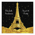 Gold Paris France Skyline #2 Bk Starry Sweet 16 SQ Card