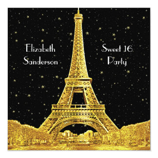 Gold Paris France Skyline #2 Bk Starry Sweet 16 SQ Card