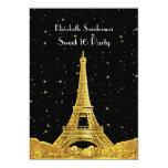 Gold Paris France Skyline #2 Bk Starry Sweet 16 V 5x7 Paper Invitation Card