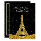 Gold Paris France Skyline #2 Bk Starry Sweet 16 V Card