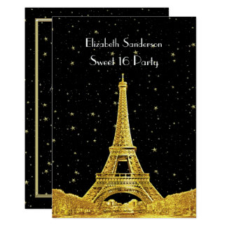 Gold Paris France Skyline #2 Bk Starry Sweet 16 V Card