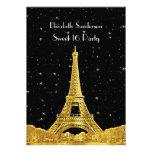 Gold Paris France Skyline #2 Bk Starry Sweet 16 V Personalized Invitation