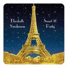 Gold Paris Skyline #2 Blue Starry Sweet 16 SQ Card