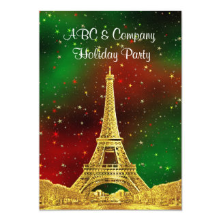 Gold Paris Skyline #2 Christmas Starry 5x7 Paper Invitation Card