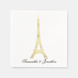 Gold Parisian Eiffel Tower Wedding Custom Napkins Paper Napkins
