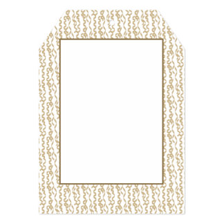 Gold Party Streamers on White Background 5x7 Paper Invitation Card