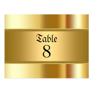 Gold Party table Numbers Postcard