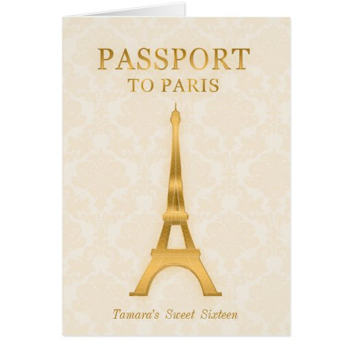 Gold Passport Birthday Invitation Greeting Cards