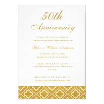 Gold Pattern 50th Wedding Anniversary Invitation