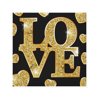 Gold,pattern,love,black,trendy,girly,chic,happy,te Canvas Print