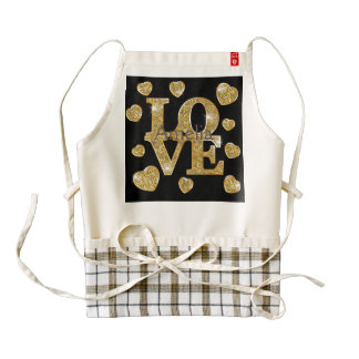 Gold,pattern,love,black,trendy,girly,chic,happy,te Zazzle HEART Apron