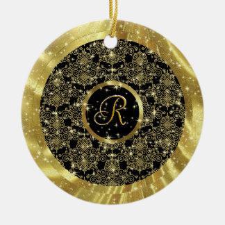 Gold Pattern & Sparkles-Custom Initial Ceramic Ornament