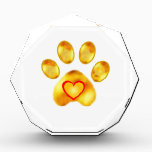 """Gold Paw Acrylic Award<br><div class=""""desc"""">Elegant and cute gold paw with heart. Enjoy a great year of the Dog!</div>"""