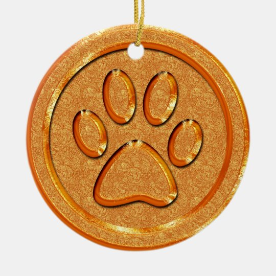 Gold Paw Print Ceramic Ornament